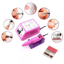 Electric Nail Drill Machine for Acrylic Nails, Electric Nail File Set with Nail Polisher Set for Manicure and Pedicure(Pink)